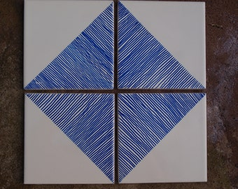 Hand painted blue and white ceramic tiles.