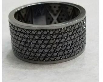 14 Karat black gold and black diamond ring