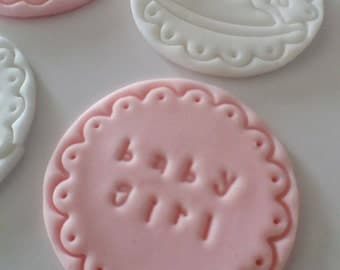 12 baby fondant cupcake toppers