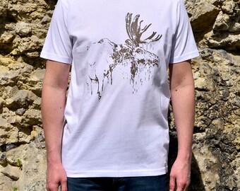 White Man T-Shirt with Moose, Moose Mens Tshirt, Screen Printed White Tshirt, Mens Clothing, Mens Shirt, White T-Shirt for Him