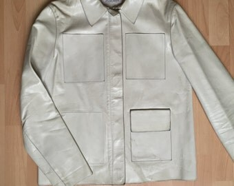 Miu Miu Leather Jacket White by