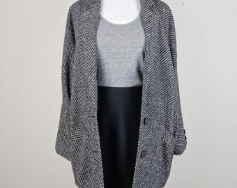 1980s Woven Wool-blend Cocoon Coat / Size Large / Oversize