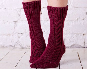 Boot socks Red boot socks Woman hand knitted socks Red leg warmers Red knitted socks Ladies cable autumn socks Casual womens knitted socks