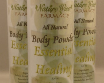 All natural body powder.  Essential Healing with Frankincense