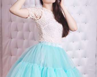 Turquoise tulle skirts