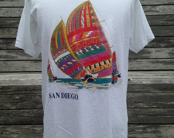 Vintage 90s SAN DIEGO Islander Sportswear sailboat art T Shirt - Large