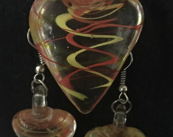 Glass Heart Necklace and Earrings