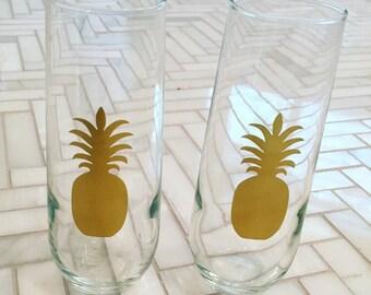 Pineapple Champagne Glasses - Set of 2 // Pineapple Host / Hostess Gift