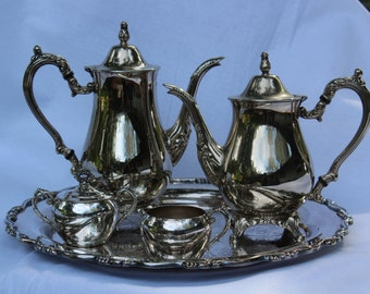tea Service 5 piece silver plate Tea Service with Round Tray