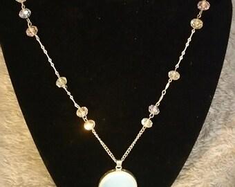Clear Swarovski Crystal w/ Moonstone Pendant Necklace