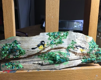 Chickadees on wood