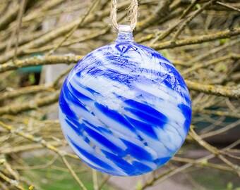 Garden Globe Outside Large Yard Lawn Ornament Hand Blown Art Glass Pond Float Gazing Ball Frozen Blue