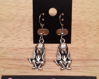 Loop Earrings/Necklace dog puppy / dog puppy silver color Earring/Necklace