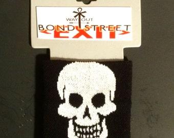 White Skull Jacquard on Black Wristband