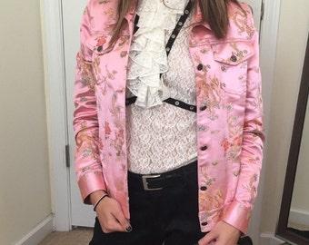 Asian-Inspired Pink Satin Jacket