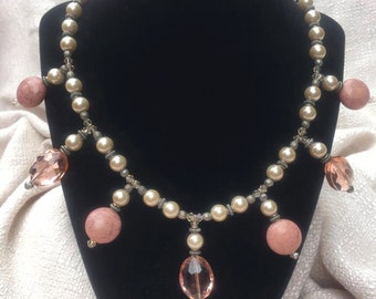 Rose & Pearl Vintage-Style Necklace