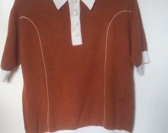 Vintage 1960s Men's Brown/White Short Sleeve Polo S, UK 36