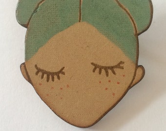 Hand-finished laser cut brooch, Space buns girl.