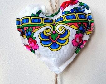 Upcycled Ukrainian Folk Scarf Plush Hearts Hanging Decor