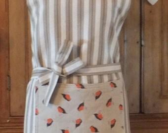 ladies apron - small adult robin design
