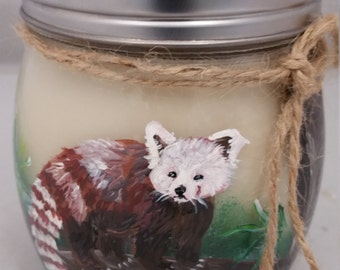 Red Panda - Hand Painted, Hand Poured, 100% soy wax candle.