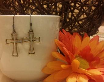 Brushed Gold Cross Earrings