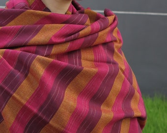 Classic Burgundy Striped 100% Handwoven Cotton Scarf