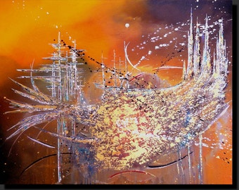 Modern abstract painting in shades of orange and gold, 'Fusion', acrylic, futuristic style and effects of matter.
