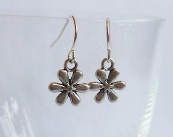 Flower Earrings Silver Coloured Flower Dangles