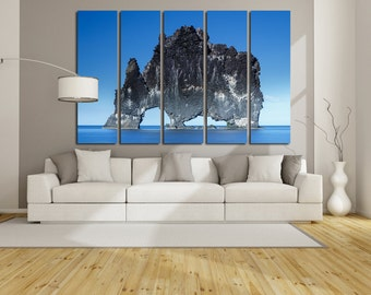 Large Wall Iceland Canvas Color Hvítserkur Multipanel Canvas Iceland Hvítserkur Canvas Art Large  1-3-4-5 Panels Canvas