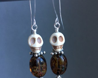 Skull and Scarab Earrings