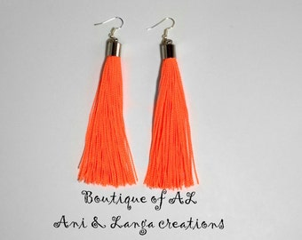 Neon Color Tassel Earrings, Fringe Earrings, Statement Earrings, Long Earrings, Gift for Her, Fashion Earrings, BOHO Chic Earrings
