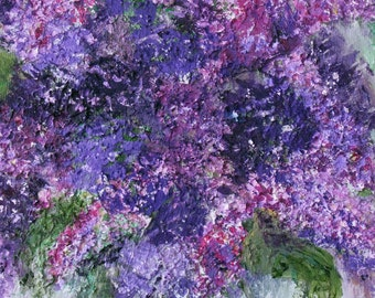 LILAC FLORAL  Small Lilac Painting, Giclee' , Michigan Artist Print - Free Shipping!