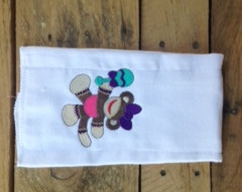 Embroidered Burp Cloth with Sock Monkey with Toy