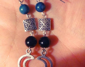 Celtic Moon Earrings with Blue River Shell and Obsidian