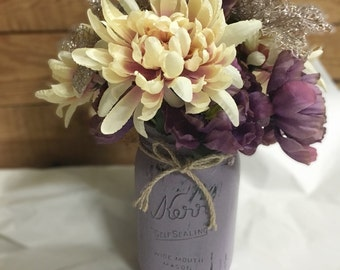 Hand Painted Vintage Mason Jar Foral Bouquet