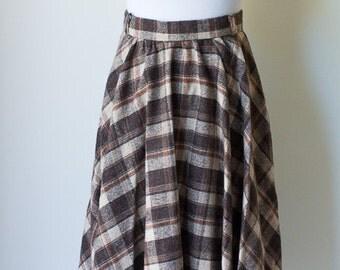 Vintage Late 60s wool plaid fall skirt