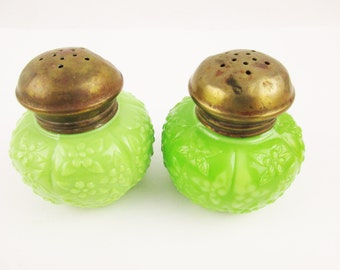 A 'Jeannette' or 'Fenton' Jadeite Salt and Pepper Set - Jadeite Green With Brass Lids - Not Fire-King - Flower Detailed - Cushion-shaped