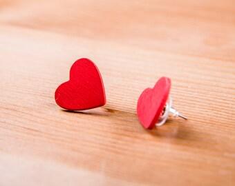Wood heart earrings / red heart Earrings / jewelry Love