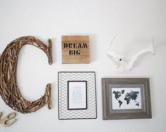 Handmade Initial, Nature Nursery Decor, Wooden Letter