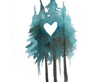 Forest Love - Watercolor heart trees art print