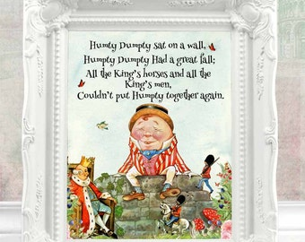 Nursery Rhyme Wall Art Kids Room Decor Baby Nursery Decor Baby Shower Gift Children Decor Playing room decor Little Boy Room Decor C:73