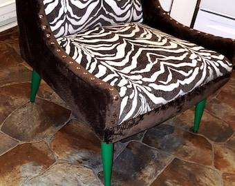 Zebra Print Vintage Armless Chair / Expresso & Off White Color