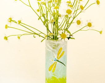 Posy vase with dragonfly hand painted on strawsilk glass with a touch of sparkle - hand decorated by Karen Keir