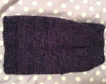 Purple and black tweed hand knit small dog sweater.
