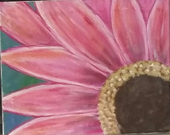 PRICE REDUCED** Pink Daisy Canvas Acrylic Painting 16X20 Art Wall Home Office Decor