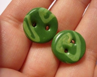 Earrings in green / button earrings / ear plug buttons
