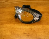 Yellow lens, Lacy Filigree  Goggles, safety goggles, aviator, burner goggles, steampunk goggles,  padded with adjustable elastic head band