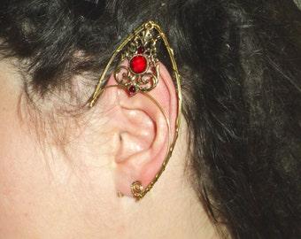 Red fae larp  arwen elven ear cuff