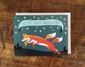 Cute Fox Wedding Card - Together Forever Congratulations Card